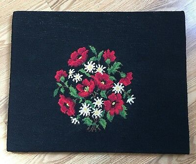 Antique Hand Crafted Needlepoint of Boquet  of Red Poppies