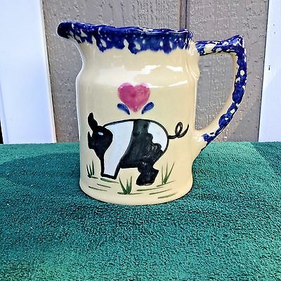 1997 Blue Sponge Pitcher with Pig Design by  Alpine Pottery Roseville Ohio