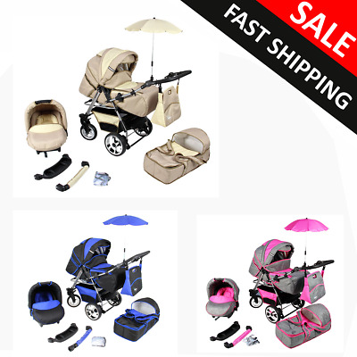 Baby Pram Stroller Pushchair Car Seat Carrycot Travel System Buggy Freebies 3in1
