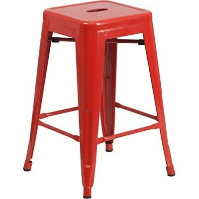 Flash Furniture 24'' High Backless Red Metal Indoor-Outdoor Counter Height Stoo
