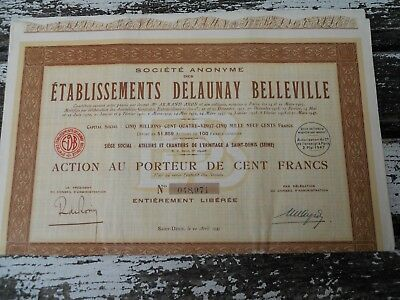 3 actions titres Delaunay Belleville 100 frs 1947  N°48971 , 972, 973
