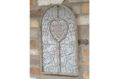 Shabby Chic Metal Shutter Style Arched Home Garden Wall Mirror 50cm FREE P&P