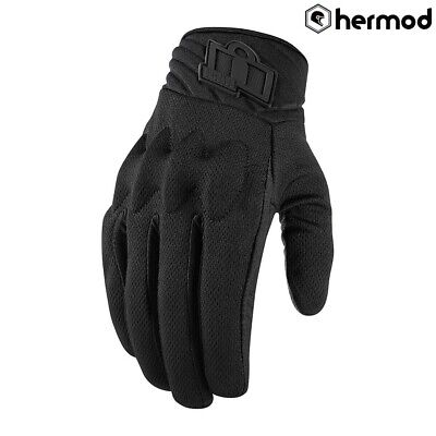 Icon Anthem 2 Stealth CE Short Touchscreen Motorcycle Gloves - Black