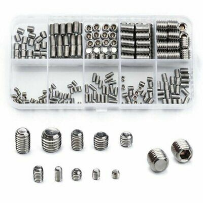 300pcs Stainless Steel Allen Head Socket Hex Set Grub Screw Assortment Cup Point