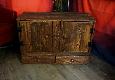 Handmade Olde Worlde Style Solid Wood Rustic TV Cabinet Stand Farmhouse Cottage