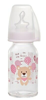 nip® Baby Flasche Glas rosa 125 ml Silikon Trinksauger gr. 1 / 0-6 Monate Tee