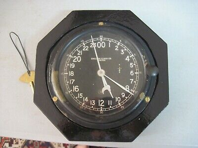 Vintage Chelsea Ww2 Ships Clock, Military Time, Brass