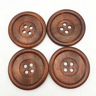 Approx. 3//4 inch 10  Dark Brown Carved Wooden Buttons 20mm - 2 Hole Bro...