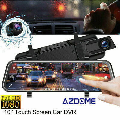 AZDOME HD 1080P Dual lens Auto DVR Mirror Dash Cam Recorder Car Rear View Camera