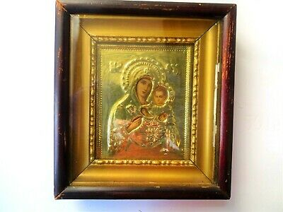 Antique Russian icon with gilded brass oklad (Riza) Virgin and Child In a box