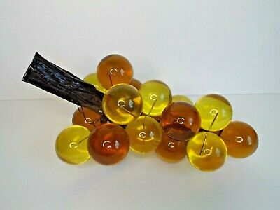 Vintage Grape Cluster Acrylic Lucite  Amber Yellow Gold 12""