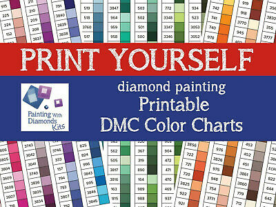 PRINT YOURSELF DMC Color Charts Diamond Painting Drill Color Card PRINTABLE JPGs
