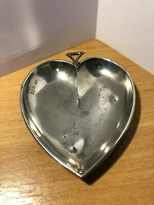 Antique Solid Silver Heart Shaped Dish