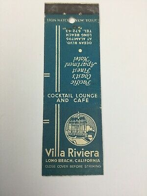 Vintage VILLA RIVIERA LOUNGE AND CAFE advertising MATCHBOOK cover LONG BEACH