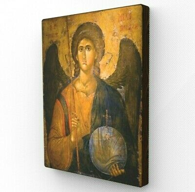 Archangel Michael Icon. Religious Wood Wall Decor. Canvas. Gift For Baptism.