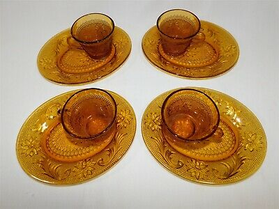 4 Indiana Glass Amber Daisy Tiara Sandwich Glass Oval Snack Sets Cups & Plates