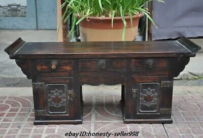 """26""""Rare Old Chinese Royal huanghuali wood hand-carved lotus Drawers Desk Cabinet"""