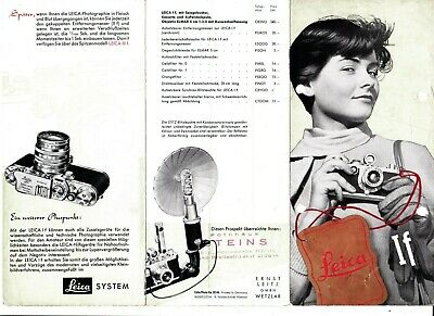 GENUINE 1953 LEITZ LEICA CAMERA & ACCESSORIES BROCHURE If 3 PAGES VERY NICE ITEM
