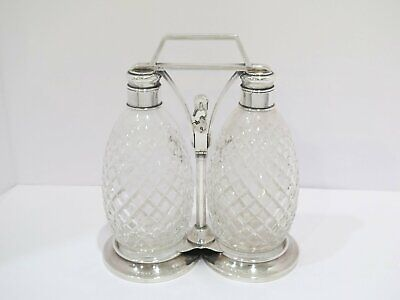 9 7/8 in Sterling Silver Crystal Glass Tiffany & Co. Antique Two-Bottle Decanter