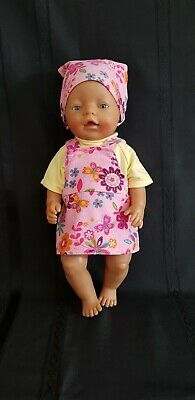 "New Dolls Clothes Cute Pinafore To Fit Baby Born Or 17"" Doll"