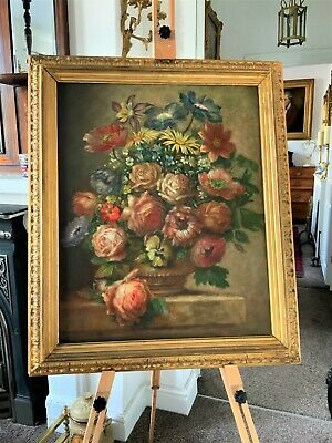 FINE LARGE 19thc ANTIQUE VICTORIAN ENGLISH SCHOOL FLORAL STILL LIFE OIL PAINTING