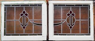 Stained glass window. Identical pair. Good condition. No cracks.