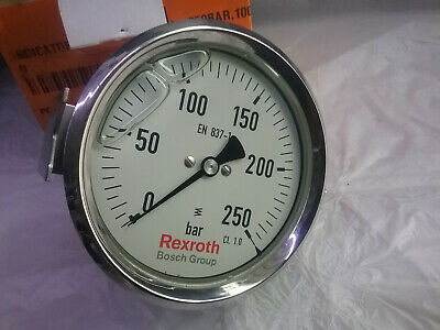 Rexroth Pressure Gauge Stainless Steel Case 0~250BAR 100mm 1/2 BSPP PGPM250-100