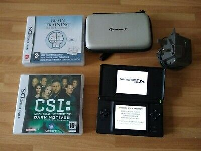 Nintendo DS Lite black with Charger, case and games