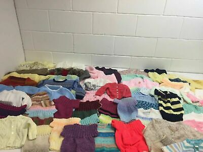 C637 Hand Knitted Bundle X 60 Multicoloured Jumpers Cardigans Kids Mixed Sizes