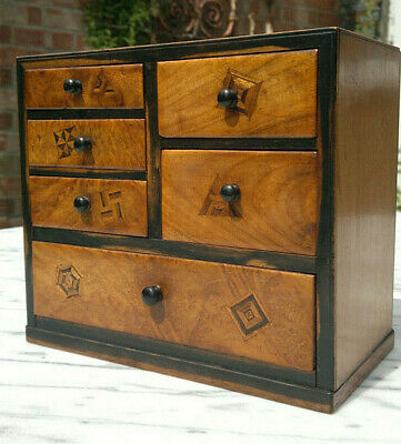Antique Japanese Marquetry Miniature Chest of Drawers Apprentice Piece