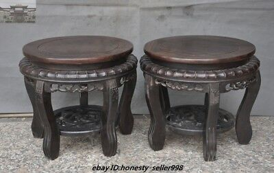 Old Chinese Rosewood Wood Hand-Carved Bonsai Potted plants flower pot Base Pair