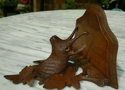 Antique Black Forest Carved Ibex-Chamois with Glass Eyes Wall Shelf