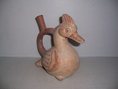 Pre-Columbian Peru Moche Pottery Duck Effigy Stirrup Vessel Artifact