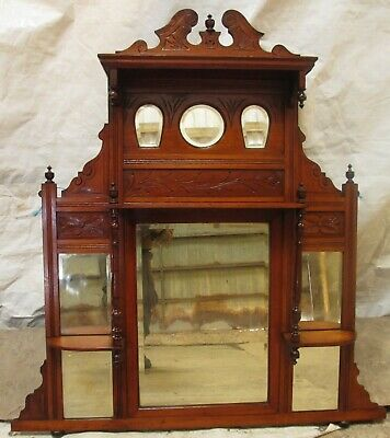 Victorian carved mahogany arts and crafts mirrored over mantle (ref 660)
