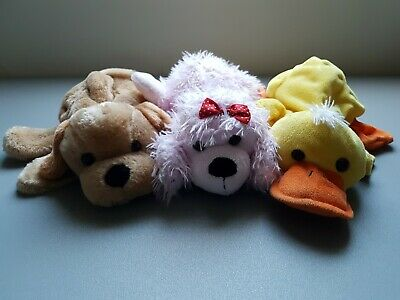 Set of Three Dreams Hand Puppets Dog, Pink Poodle, and Duck. Used VGC