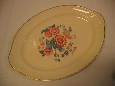 Vintage TAYLOR SMITH TAYLOR Lovely Small Oval Floral Platter Gold Trim