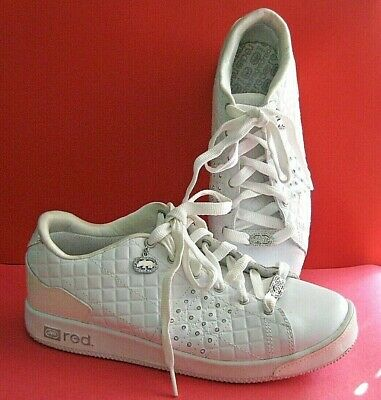 2af2f925 MARC ECKO RED RHINO PHRANZ LEATHER SNEAKERS WHITE SILVER Size 9 Sequins *