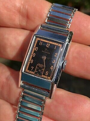 1930/40s Vintage Record Gilt Dial Tank Mens Watch Swiss 22x38,6mm
