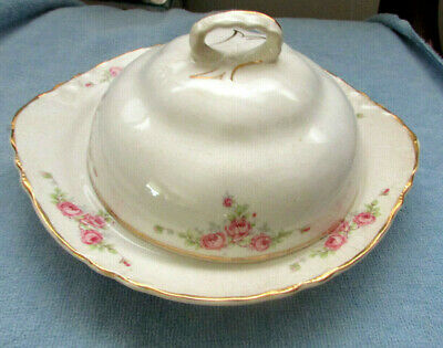 Antique Homer Laughlin Pink Roses Floral Covered Lidded Cheese Butter Dish OLD