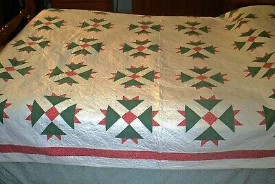 Excellent 19th Century Antique Quilt - Pink Calico & Green