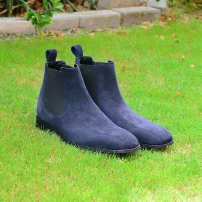Men's Handmade Chelsea Boots Fashion Party Casual Real Calf Suede Leather Shoes