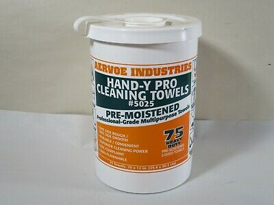 Aervoe 5025 Hand-y Pro Cleaning Towels Pre-Moistened Pro Grade Multipurpose 75ct