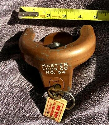 Vintage Master Lock No. 34 Trailer Tongue Hitch Coupler with Key