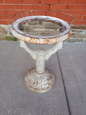 Antique Victorian Cast Iron Garden Plant Stand Pedestal Base Vtg Chipped Paint