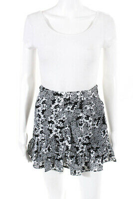95443c2bd7 Parker Womens Tiered Ruffle Mini Skirt Black White Size Extra Small LL19LL