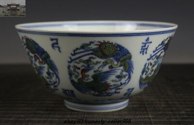 Collect China Wucai Old porcelain Crane Ming dynasty Chenghua Marked bowl Bowl
