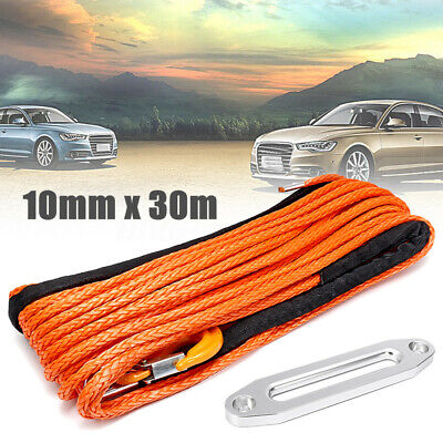 100ft 10mm Synthetic Winch Rope Hawse Hook Dyneema SK75 Self Recovery