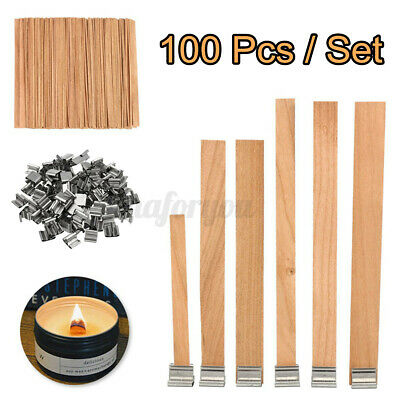 100pcs Wood Wooden Candles Core Wick Candle Making Supplies w Iron Stands