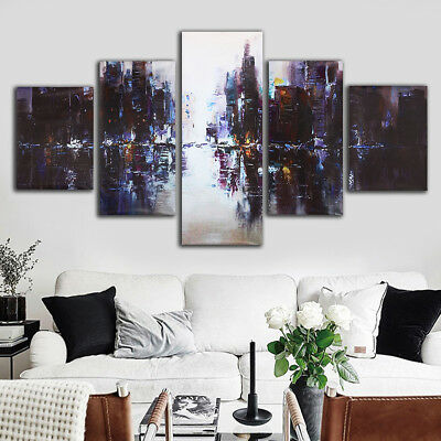 5Pcs Abstract Modern City Canvas Print Painting Picture Home Wall Decor