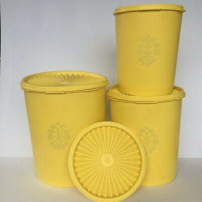6 Pc Vintage TUPPERWARE Servalier Canister Set Yellow Retro Kitchen Nesting